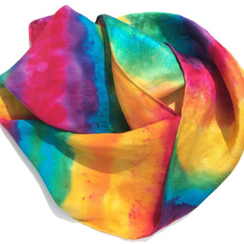SILK SCARF, Rainbow Extravaganza, hand dyed, silk scarves, bright rainbow colors