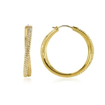 Michael Kors Designer Earrings Gold Tone Metal Hoop Earrings w/Crystals