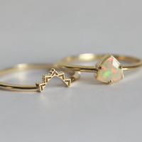 Opal Engagement Ring Set, Opal Wedding Ring, Lace Wedding Set, Lace Wedding Band, Wedding Ring Set, Trillion Opal Ring