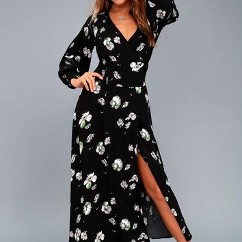So Sweetly Black Floral Print Midi Dress