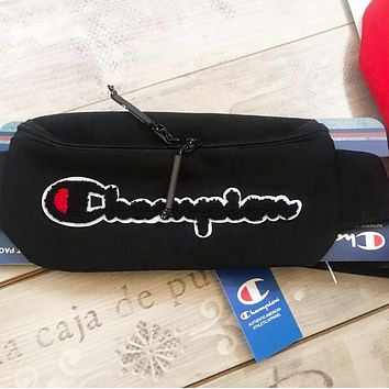 Champion Fashion New Embroidery Letter Shopping Leisure Shoulder Bag Waist Bag Black