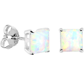 6mm Square Sterling Silver Synthetic Opal Stud Earrings