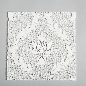 Damask Exquisite Crystal Glass - Thassos Stone Luxury Waterjet Mosaic Artisan Wall Art Luxe