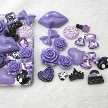 DIY Purple Bling Flatback Resin Cabochons Kawaii Deco Kit  SET-Cell Phone, iPhone, Scrapbooking