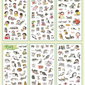 Transparent Cat Sticker (6 Sheets) Cute Animal Kitty Kitten Scrapbooking Journal Diary Decoration Gift Packaging Card Making Home Decor S291