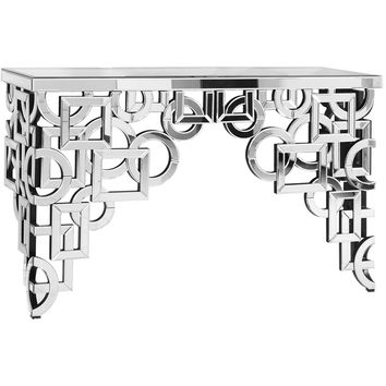 "Modern 58""x18""x35.5"" Mirrored Accent Table, Silver"