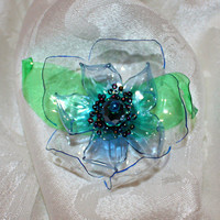 Ocean Blue Scarf Magnet and Brooch, flower, recycled bottle