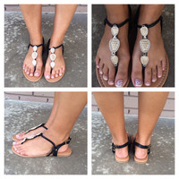Black Stepping Stone Sandals