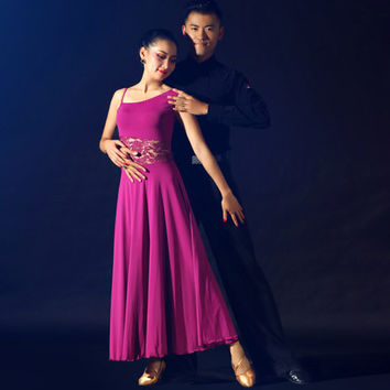multi color lace splicing ballroom dance competition dress modern dance square dance stage perfromance dance dress