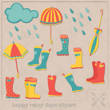 Rain Clipart (A set of 14). Handdrawn rainy clipart umbrellas rain boots for invitations scrapbooking cardmaking logo design etc