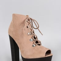 Qupid Suede Peep Toe Lace Up Bootie