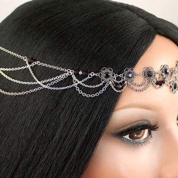 Whitney Circlet Set - Garnet Rhinestone, Silver Filigree, Gothic Bridal, Swarovski Headpiece, with Earrings