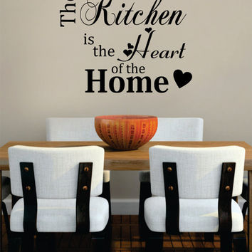 Kitchen Heart of the Home Quote Decal Sticker Wall Vinyl Decor Art