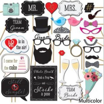 ONETOW Creative Funny 31pcs DIY Paper Mustache Glasses Wedding Decoration Christmas Party Supplies Birthday Favors Photo Props PY0117