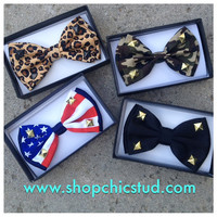 Studded Bowtie -  Camo, Leopard, American Flag or Black - Gold Black Silver Studs