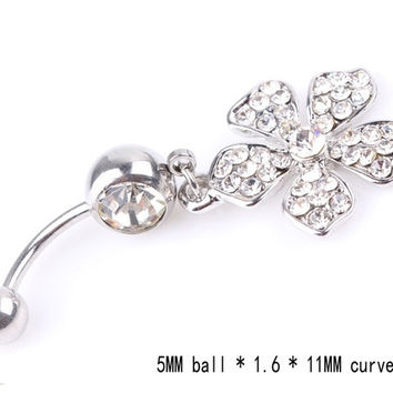 Popular Navel Belly Button Ring Beads Cute Rhinestone Flower Shape = 1695544132