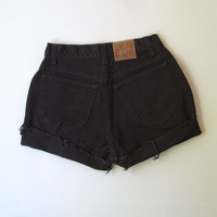 Vintage 90s High Waisted Cut Off Denim Mom Jean Shorts 8 Black 26""