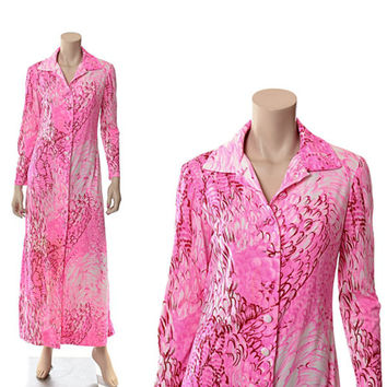 Vintage 60s 70s David Crystal Neon Pink Feather Print Dress 1960s 1970s Mod Graphic Lounge Wear Boho Psychedelic Hippie Maxi Gown / M