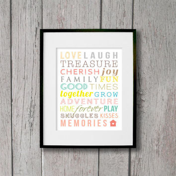 Family Subway Art - Colorful Family Room Wall Art - Family Words - Subway Art Prints - Modern Home Wall Decor - Love & Family Decor - House