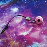 Pink Eyeball Creepy Halloween Dust Plug Decoration for Cell Phones/ iPhone/ Aux Outlets