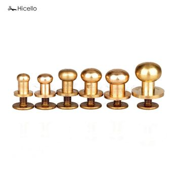 Hicello 10Pcs/Set Solid Brass Rivet Round Head Button Belt Screw Chicago Screw Button Studs Leather Craft Tool Accessories
