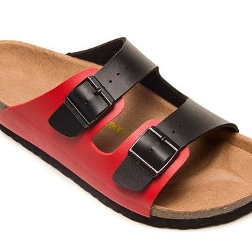 2018 Birkenstock Classic, Arizona Sandals Couples Slippers - Black/Red