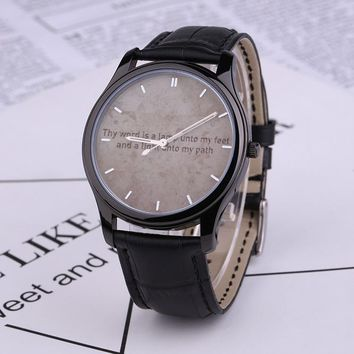 Psalm 119:105 Quartz Watch With Black Genuine Leather Band