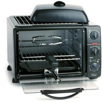 Elite Platinum 23-liter Toaster Oven with Rotisserie, Convection Fan & Grill/griddle Top with Lid