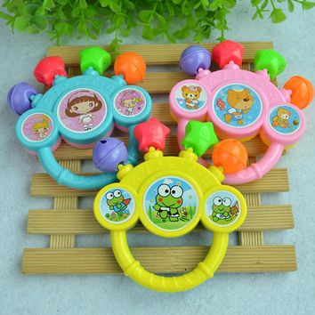 Free Shipping 1PCS Cartoon Animal Style Baby Rattles Handle Rattle Toys Infant Learning Developmental   Mobile Toy