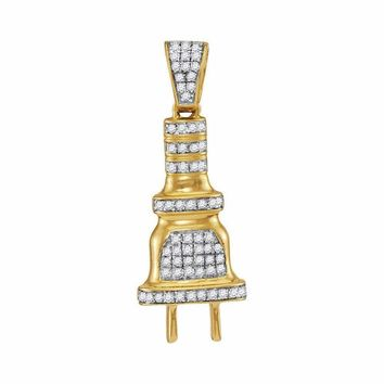 10kt Yellow Gold Men's Round Diamond Power Plug Charm Pendant 1-5 Cttw - FREE Shipping (USA/CAN)