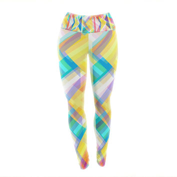 "Miranda Mol ""Triangle Rhythm"" Pastel Geometric Yoga Leggings"