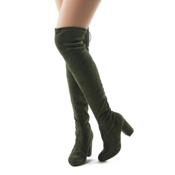 Women's SUEDE Thigh High Over The Knee Block Chunky Heel Pointy Round Toe Boots