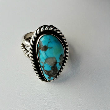 Sterling & Turquoise Ring - Bisbee Turquoise Cabochon - Size 6 Ring - Southwestern Turquoise Ring - Ring Size 6