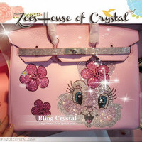 Swarovski / Czech Crystals - Hermes Birkin Inspired Genuine Leather Purse / Handbag with Cute Bunny - ZoeCrystal