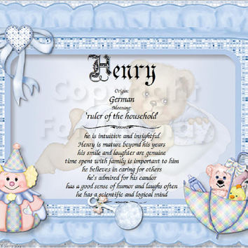 Baby Nursery Name Meaning and Character Traits Print ready to frame custom made for either boy or girl. Great baby shower gift