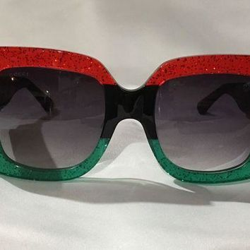 PEAPON Authentic New Gucci Sunglasses GG0083 Red Green Frame Gray Grey Lens