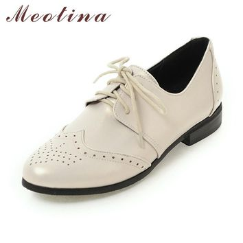 Meotina Women Oxfords Flats Shoes Lace Up Pointed Toe Brand Fashion Causal Brogue Shoe