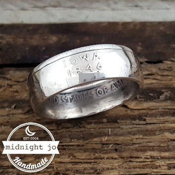 Iowa 90% Silver State Quarter Coin Ring