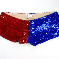 Harley Quinn Cosplay Low Rise Red Blue Super Sequin Shorts