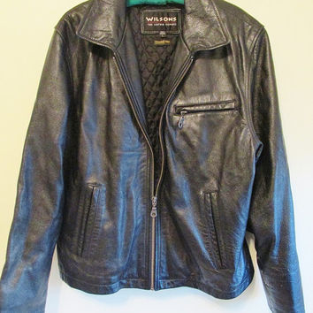 Men's 90's Wilsons Black Leather Bomber Jacket with Thinsulate Insulation Sz L