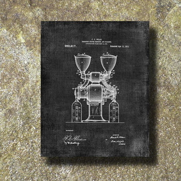 Coffee Grinder Patent 1911 Print Art Illustration Printable Instant Download Poster UP060grad
