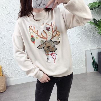 2018 UGLY Christmas Knit Sweater Cute Reindeer Christmas Tree Sweater Warm Wool Sequin Elk Embroidered Pullover 4 color
