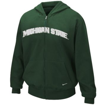 Nike Michigan State Spartans Green Youth Classic Full Zip Hoodie Sweatshirt - http://www.shareasale.com/m-pr.cfm?merchantID=7124&userID=1042934&productID=525467617 / Michigan State Spartans