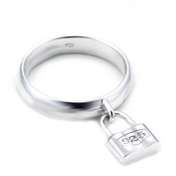 Partners In Crime Dangle Charm Pad Lock Ring 925 Sterling Silver 1MM