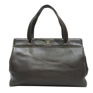 Auth CHANEL Tote Shoulder Hand bag Brown Caviar skin leather Used Vintage Women