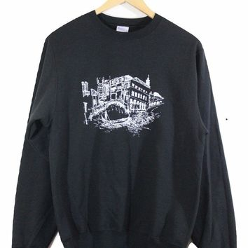 Venice Black Graphic Crewneck Sweatshirt