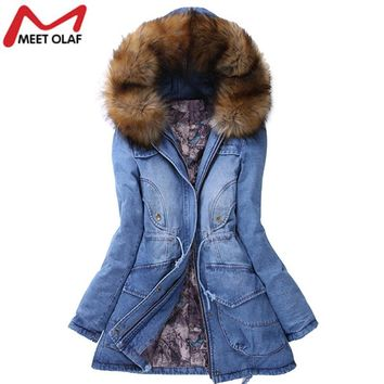 New Winter Coat Women Big Faux Fur Hooded Thick Warm Outwear Fashion Casual Denim Jackets Long Cotton Padded Jeans Parkas YL457