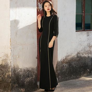 VERRAGEE retro dress 2018 autumn new slim-fitting full-sleeve party formal gentle vintage long mermaid Maxi dress