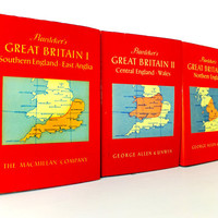 Great Britain Vintage travel book set, Set of 3 Baedeker's Guides to Great Britain, British Guidebooks, England Guides