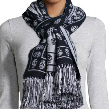 """Skull-Print Cold Weather Scarf, Size: 33"""","""